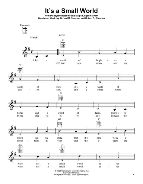 printable lyrics to it s a small world it s a small world sheet music direct