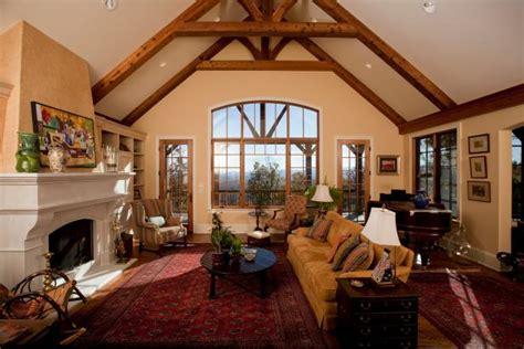 rustic living room  vaulted ceiling oriental rug hgtv