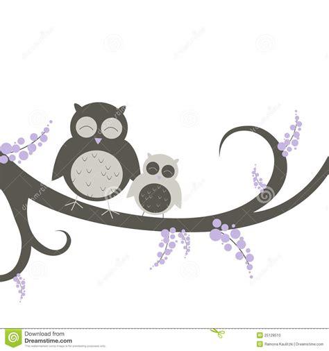 Owls Decor by Uilen Op Een Decoratieve Tak Stock Foto Afbeelding 25128510