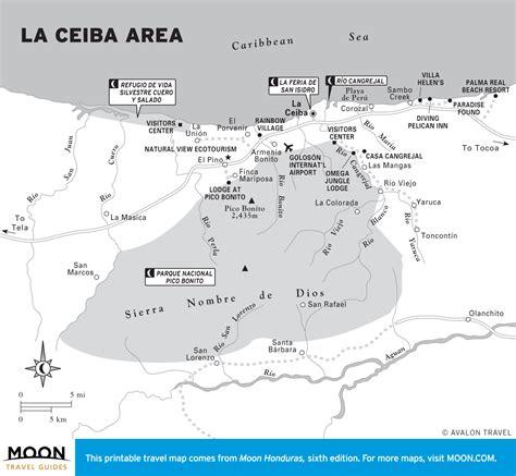 printable map of la area printable travel maps of honduras moon travel guides