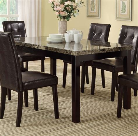 Dining Room Tables With Marble Top Poundex F2093 Espresso Finish Dining Room Table With Faux Marble Top