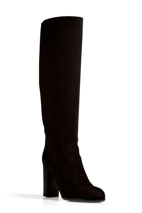sergio suede boots in reversed black in black