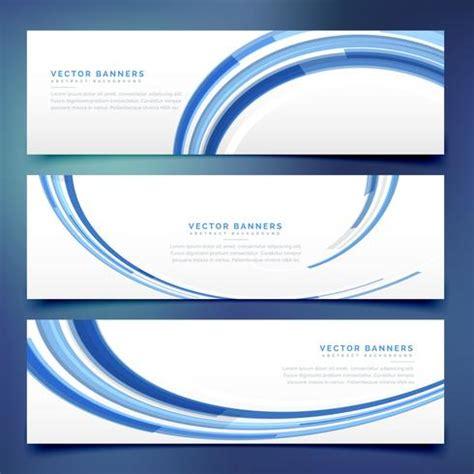 Set Blue Abstrak abstract blue wavy banners set vetores e