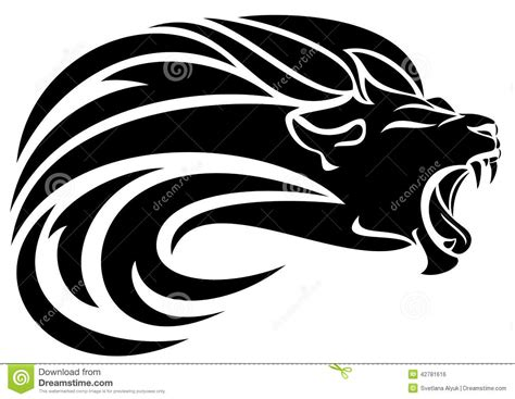 tribal pattern header lion head stock vector illustration of growling clip