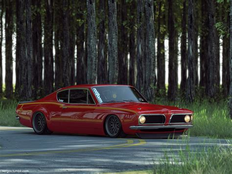stanced muscle cars plymouth barracuda stanced cgi by sergoc58 on deviantart