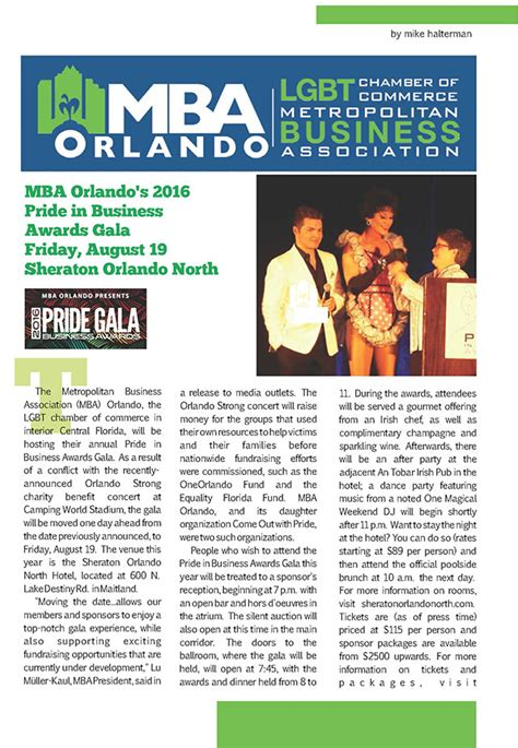 Mba Orlando by Mba Orlando Presents The Pride Gala Business Awards