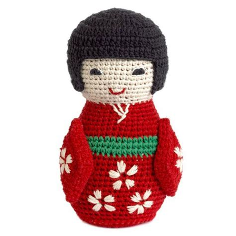 amigurumi geisha pattern crochet knitted japanese doll with bell by anne claire