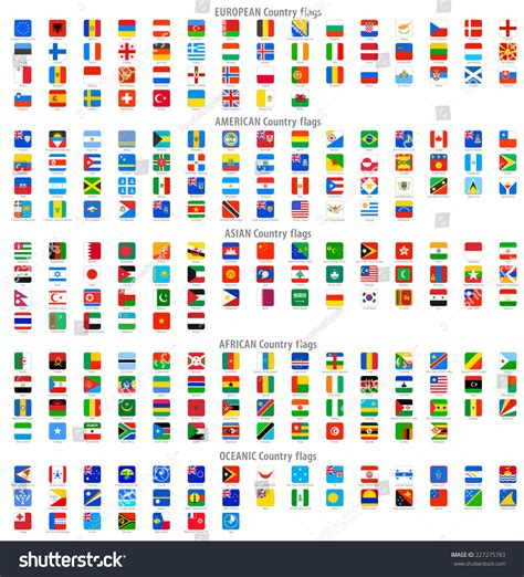colors of the world full collection world rounded square vector stock vector