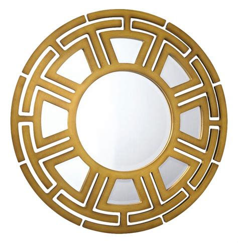 gold mirror pattern aztec hollywood regency matte gold circular pattern wall