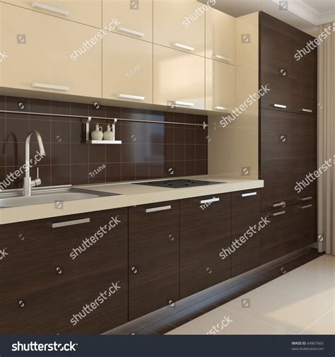 modern kitchen interior 3d rendering modern kitchen interior 3d render stock photo 64967665