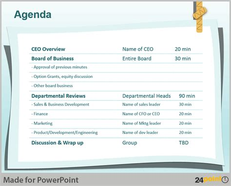 Post It Notes Themed Powerpoint Presentations Agenda Powerpoint Template