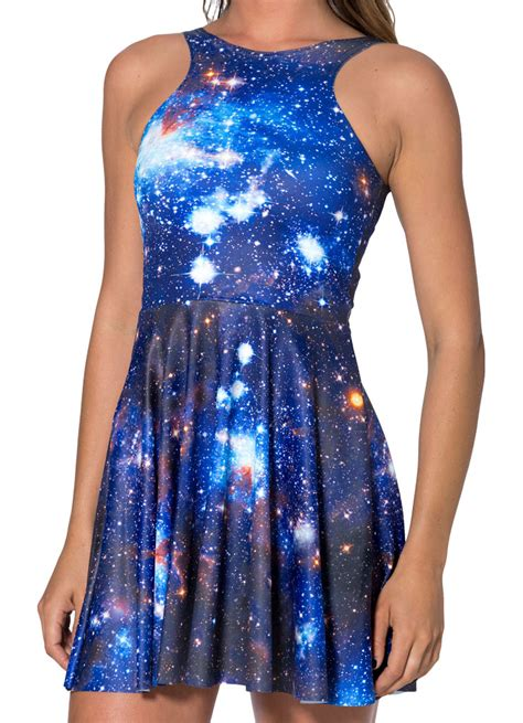 Blue Galaxy Print S M L Dress 44349 galaxy blue reversible skater dress n8772