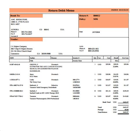 debit memo template 8 download free documents in pdf
