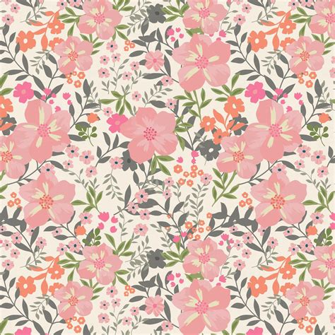 Orange Floral pink and orange floral tropic fabric by the yard pink