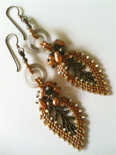 Beaded Leaf Earrings 30 best images about bead russian leaves on