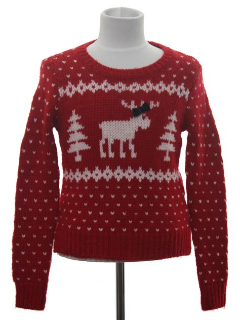 abercrombie and fitch reindeer sweater womens girls ugly christmas sweater retro look