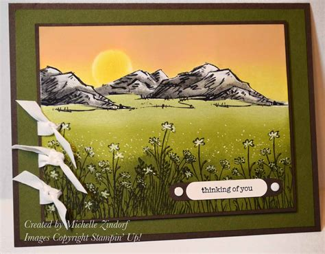 In The Meadow mountains in the meadow stin up card