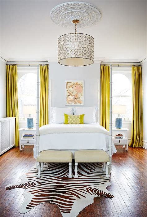 Yellow Curtains For Bedroom by White Bedroom With Canary Yellow Curtains Contemporary