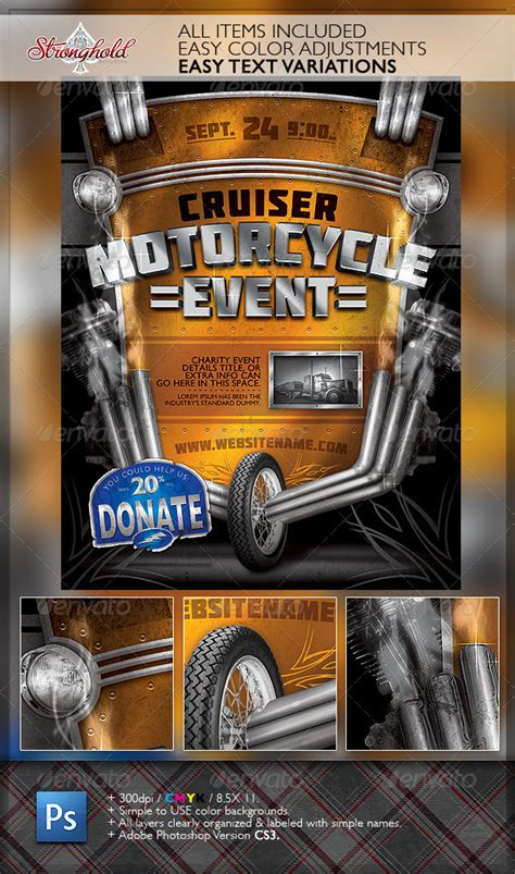 dafont molot vintage motorcycle event flyer template graphicriver