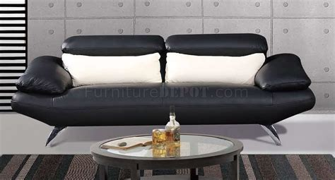 Black Full Leather Contemporary Living Room Sofa W Chrome Legs Black Leather Sofa With Chrome Legs