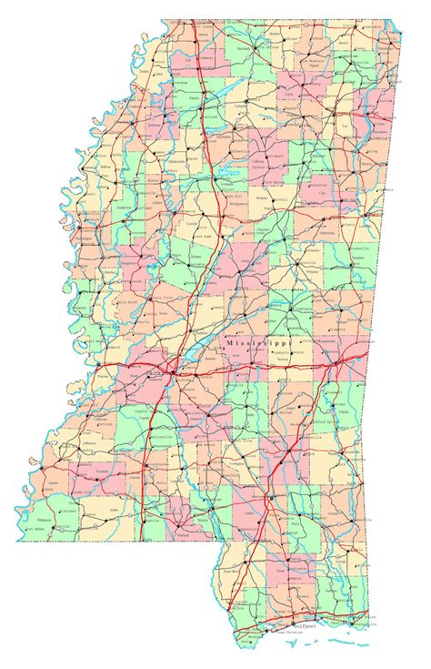 mississippi state map usa large detailed administrative map of mississippi state