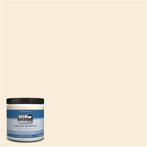 behr premium plus ultra 8 oz ppu6 9 polished pearl interior exterior satin enamel paint sle