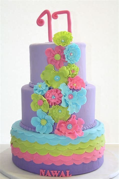 colorful birthday cakes colorful 17th birthday cake cakecentral