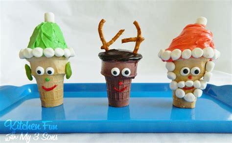 santa rudolph elf christmas cupcake cones kitchen fun with my 3 sons
