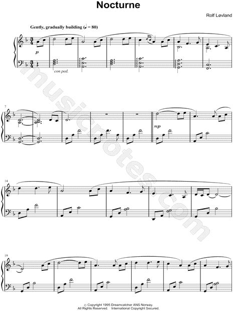 "Secret Garden ""Nocturne"" Sheet Music (Piano Solo) in D"
