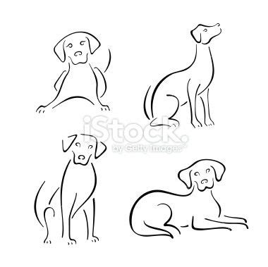 line dogs line drawing design set royalty free stock vector illustration