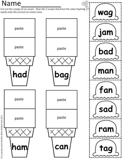 cvvc pattern worksheets cvc scoops cut and paste some word work scoop