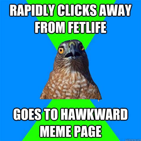 Hawkward Meme - rapidly clicks away from fetlife goes to hawkward meme