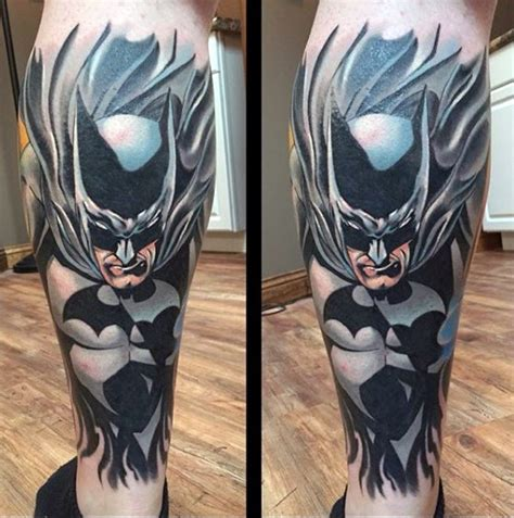 batman butterfly tattoo illustrative style colored leg tattoo of batman