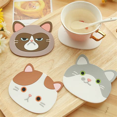 Cat Cup Mat cat shaped tea coasters cup holder mat coffee drinks drink