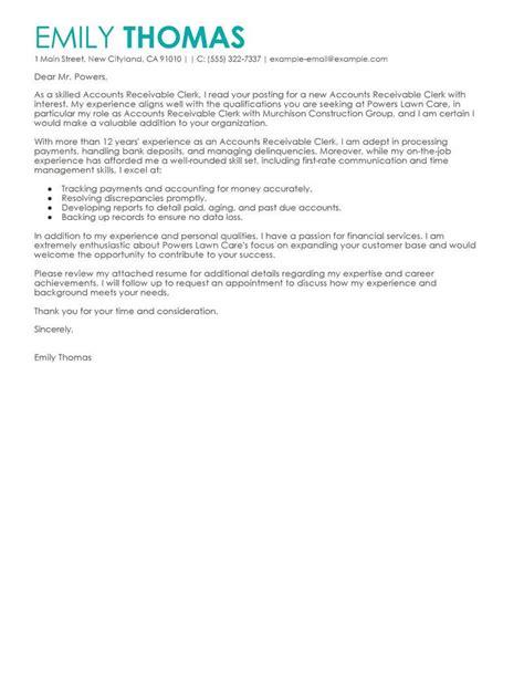 accounts receivable cover letter accounts receivable cover letter sles