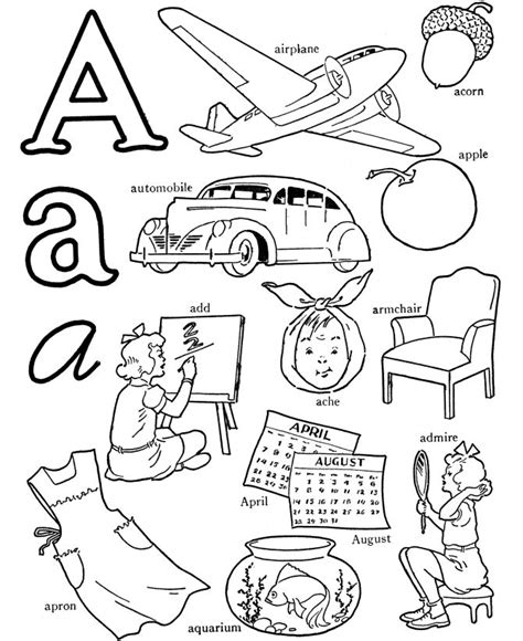 Y Words Coloring Pages by Abc Alphabet Words Coloring Activity Sheet Letter A