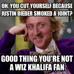 meme willy wonka oh you cut yourself because justin