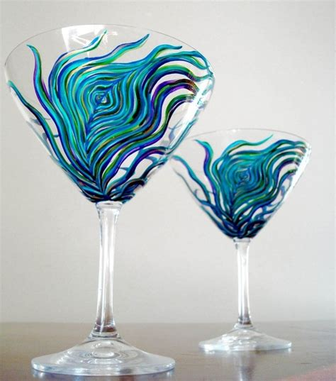 Pretty Cocktail Glasses Peacock Feather Martini Glasses Set Of 4 Painted