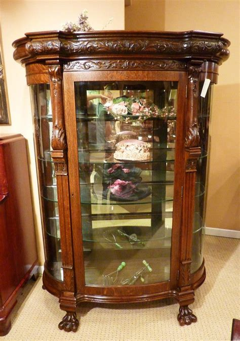 curio cabinet glass shelves 19th c heavily carved victorian oak curio cabinet with