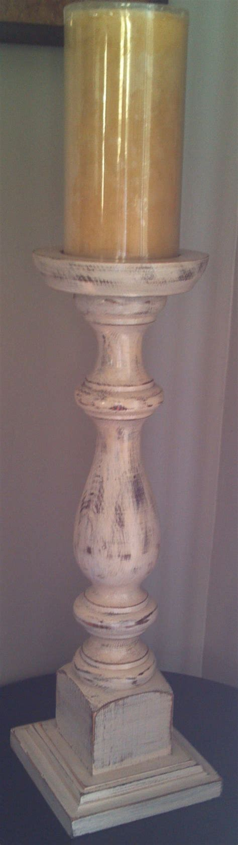 Wooden Pedestal Candle Holders Shabby Chic Wooden Pedestal Candle Holder By Peddlintreasurez