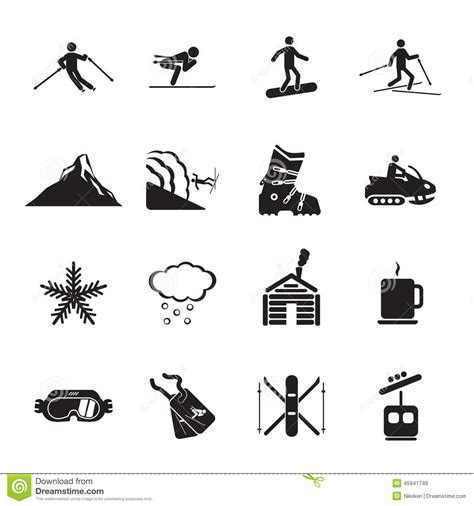Free Cabin Plans ski resort icons set stock vector image of cabin boots