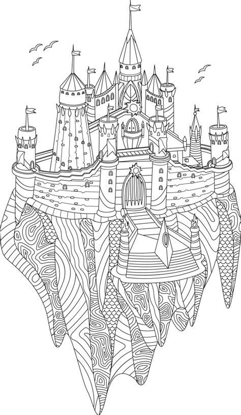 Libro de colorear adulto con castillo de fantasía en una