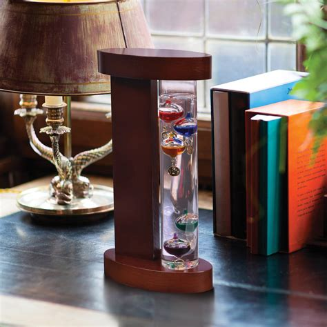 Workstation Decoration by Galileo Thermometer With Wood Stand Home Office Table Desk