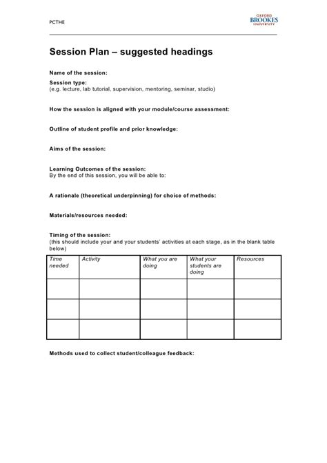 session planning template