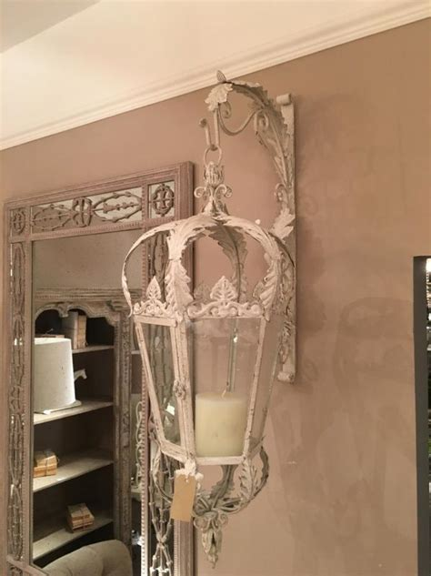 huge cream metal hanging lantern  wall bracket