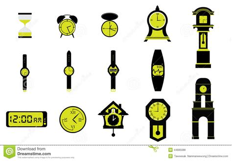 Abstract Clocks by Types Of Clocks Watches And Time Stock Vector Image