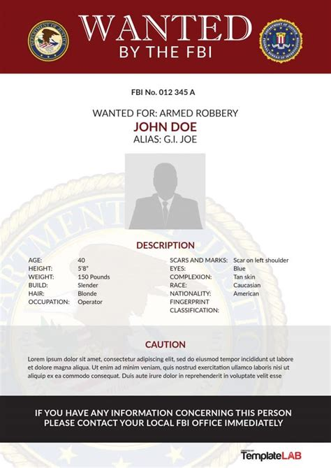 29 Free Wanted Poster Templates Fbi And Old West Fbi Wanted Poster Template