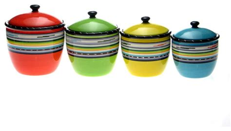 contemporary kitchen canisters certified international santa fe 4 piece canister set