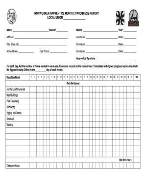 ironworker monthly progress report fill