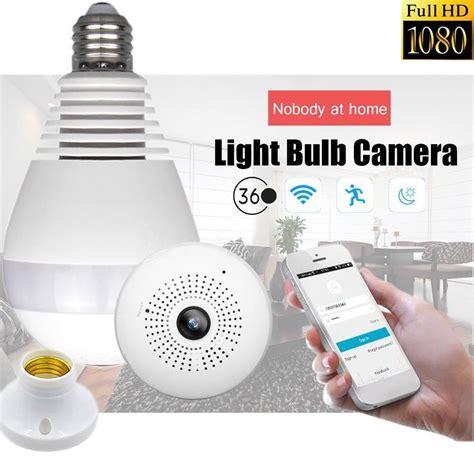 light bulb security camera 360 176 panoramic 1080p hidden ir camera light bulb wifi